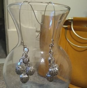 Handmade Silver Colored Dangle Earrings